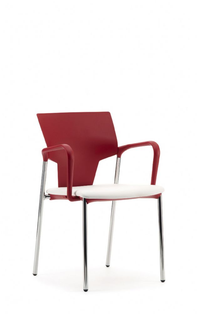 Pledge Ikon Chair With Upholstered Seat And Plastic Back With 4 Leg Frame with Arms